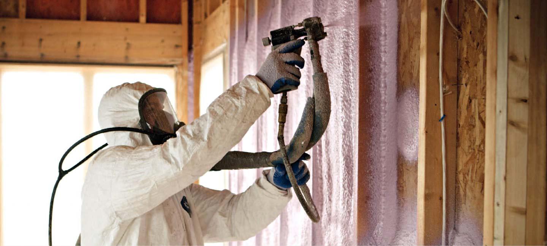 Spray Foam Insulation on Wall